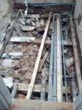 Private Client - HB - The full extent of the water damaged joists and rubble/rubbis before clearing it out and rebuilding the floor